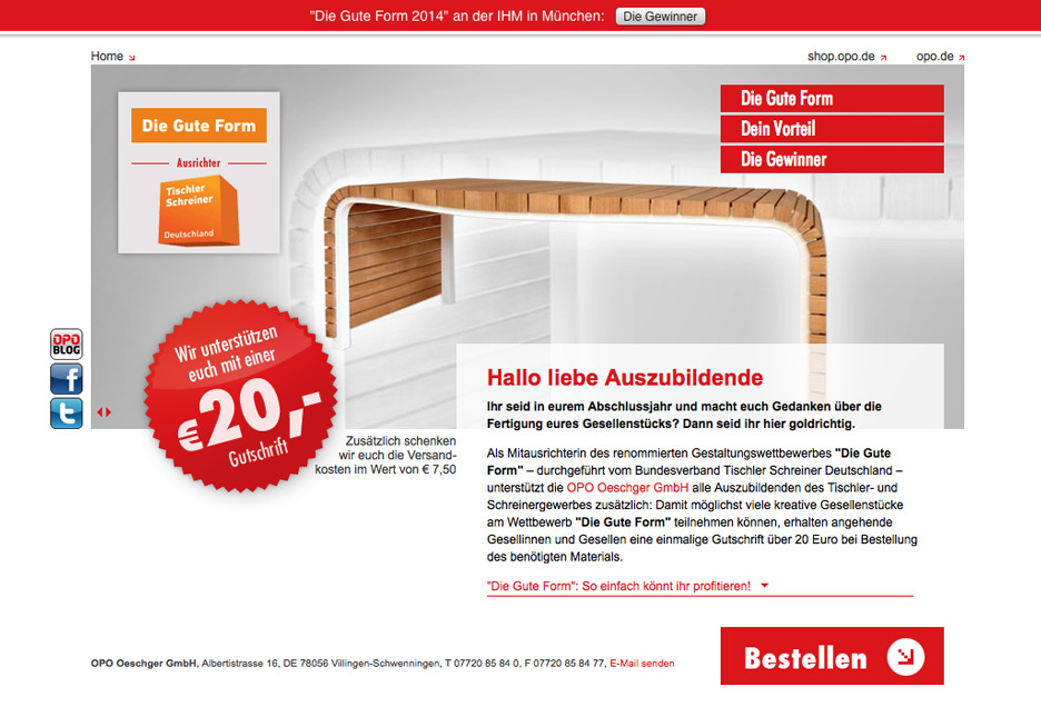 Screenshot der LandingPage http://www.dieguteform.opo.de