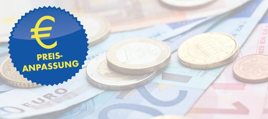 Preisanpassungen bei €-Produkten auf den 14. Dezember 2017