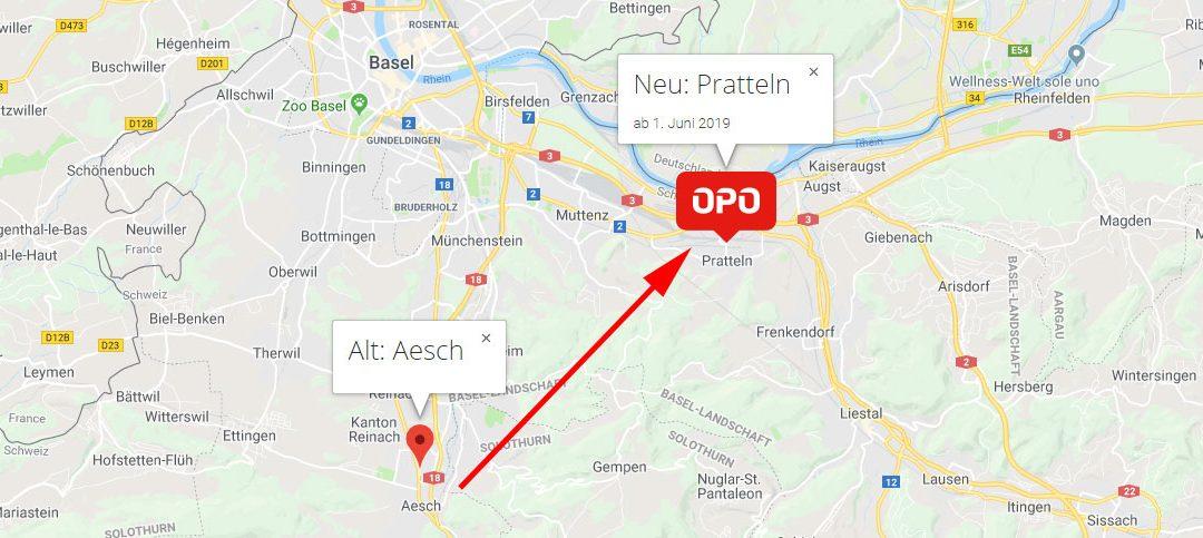 Von Aesch nach Pratteln – ab dem 1. Juni am neuen Standort